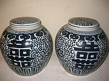 Pair of Blue and White Chinese Covered Ginger Jars