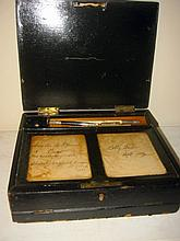 Victorian Leather Writing Box with Accessories