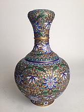 CHINESE BRILLIANT FLORAL CLOISONNE VASES