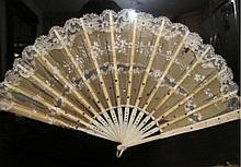 Antique hand carved bone silk lace Chinese women hand fan shadowbox framed old