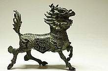Chinese Small Bronze Kylin Dragon Statue