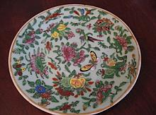 OLD CANTON CHINESE PLATE BUTTERFLY BIRD FLORAL PATTERN