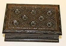 Vintage Hand Carved Teak Wood Jewelry Trinket Dresser Box