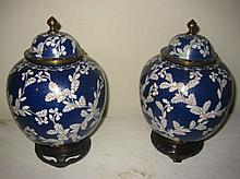Pair of Blue and White Cloisonne Ginger Jars
