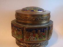 Antique chinese export champleve brass coveres box