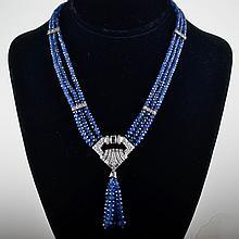 Platinum diamond sapphire bead necklace