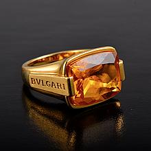Bulgari citrine gold ring