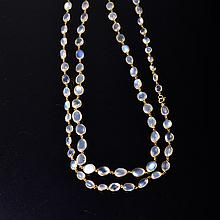 Yellow gold moonstone long chain necklace
