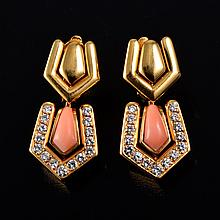 Boucheron coral diamond earrings