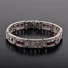 Art Deco ruby diamond bracelet