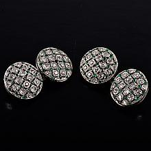 Edwardian diamond emerald cuff-links