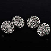 Edwardian diamond emerald cuff-links