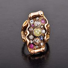 Art Nouveau colored diamond ruby cocktail ring
