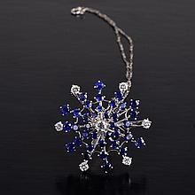 Oscar Heyman sapphire diamond brooch/pendant necklace