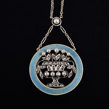 Edwardian diamond enamel necklace