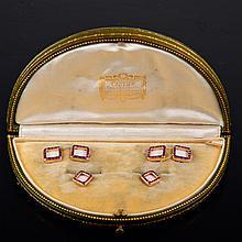 Cartier ruby cuff-link set in original box