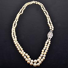 Art Deco diamond pearl necklace