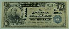 1902 $10 National Currency Note - The Waukegan National Bank Waukegan, Illinois.  Charter# 10355 FR# 629.