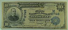 1902 (Date Back) $10 National Currency Note - The First National Bank of Janesville, Wisconsin.  Charter# 2748.  FR# 616.