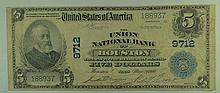 1902 $5 National Currency Note - The Union National Bank of Houston, Texas.  Charter# 9712.  FR# 601.