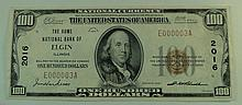 1929 $100 National Currency Note - The Home National Bank of Elgin, Illinois.  Charter# 2016 Serial# E000003A.