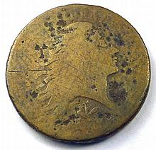 1793 Flowing Hair Wreath Reverse Large Cent (worn).