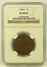 1798/7 Draped Bust Large Cent.  NGC Certified AU58BN.