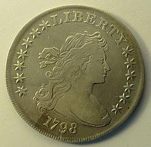 1798 Draped Bust Heraldic Eagle Reverse Dollar.