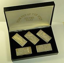 From Out of The West Silver Bars includes (5) 3oz. .999 Silver including Consolidated Silver, Sunshine Mint, Coeur d'Alene, Day Mines & Hecla Mines.  (15oz. total) in box.