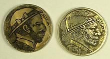 Lot of two vintage HOBO Nickels.  Very well carved.