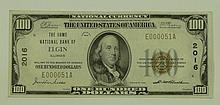 1929 Ty. 1 $100 National Currency Note - The Home National Bank of Elgin, Illinois.  Charter # 2016 FR# 1804-1.  This lot and the next lot are consecutive serial #'s. Serial # E000051A.