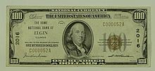 1929 Ty. 1 $100 National Currency Note - The Home National Bank of Elgin, Illinois.  Charter # 2016 FR# 1804-1.  This lot and the previous lot are consecutive serial #'s. Serial # E000052A.