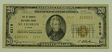1929 Ty. 2 $20 National Currency Note - The St. Charles National Bank St. Charles, Illinois.  Charter# 6219  FR# 1802-2