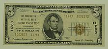 1929 Ty.2 $5 National Currency Note - The Burlington National Bank Burlington, Wisconsin.  Charter# 11783  FR# 1800-2.