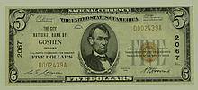 1929 Ty.1 $5 National Currency Note - The City National Bank of Goshen, Indiana.  Charter# 2067  FR# 1800-1.