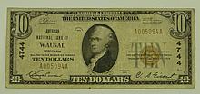 1929 Ty. 1 $10 National Currency Note - American National Bank of Wausau, Wisconsin.  Charter# 4744 FR# 1801-1.