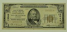 1929 Ty. 1 $50 National Currency Note - Bank Of America National Trust and Savings Association San Francisco, California.  Charter# 13044 FR# 1803-1.