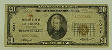 1929 Ty. 1 $20 National Currency Note - The National Bank of La Crosse, Wisconsin.  Charter# 5047 FR# 1802-1.