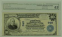 1902 $10 National Currency Note - The Phenix National Bank of Providence, Rhode Island.  Charter# 948 FR# 624.  CGA Certified Choice Uncirculated 63.