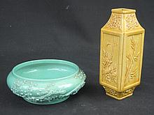 TWO ITEMS OF CHINESE PORCELAIN to include small yellow glazed foliate relief decorated square sectio