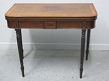 19TH CENTURY MAHOGANY AND MIXED WOODS FOLDING CARD TABLE the top and sides with ebony and satin wood