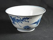 CHINESE PORCELAIN UNDERGLAZE BLUE DECORATED EVERTED RIM BOWL externally painted with studies of flyi