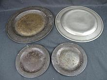 LARGE COLLECTION OF ENGLISH PEWTER PLATES some with touch marks, all polished to the backs in the tr