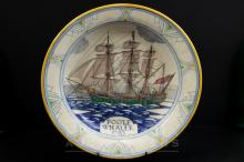 Arthur Bradbury for Poole Pottery, maritime interest charger, titled 'Poole Whaler 1783', verso inscribed 'This dish was made and painted at the Poole Pottery in the year 1934, ship drawn by Arthur Bradbury, painted by Ruth Pavely', 37.5cm diameter