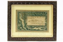 Walter Crane - London Schools Swimming Association certificate, awarded to Alfred Milan, 1st Class, 23.5 x 15.5cm, framed