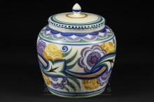 A Poole Pottery squat baluster jar & cover, CO pattern, decorated by Norah Preston, 1934-41, 15.5cm high approx.