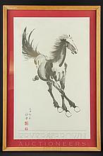 After Xu Beihong (1895-1953) - galloping horse, print, 28 x 44cm approx.