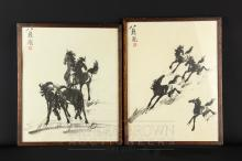 After Xu Beihong - group of four horses and four horses galloping, prints, 22.5 x 30cm approx. (2)