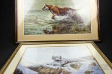 A pair of tiger prints, 'Ghengis' by Andrew Ellis and another (2)
