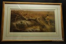 A pair of lion prints, one by Andrew Ellis, 'Evening Glance' signed and another by Dick Van Heerde 'Serengetti Lionesses' with certificate 379/395